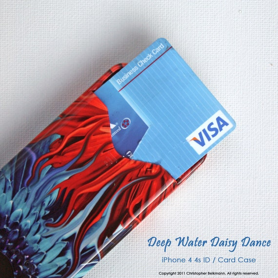 """iPhone 4s card holder case with red and blue gerbera daisy floral artwork """"Deep Water Daisy Dance"""""""""""