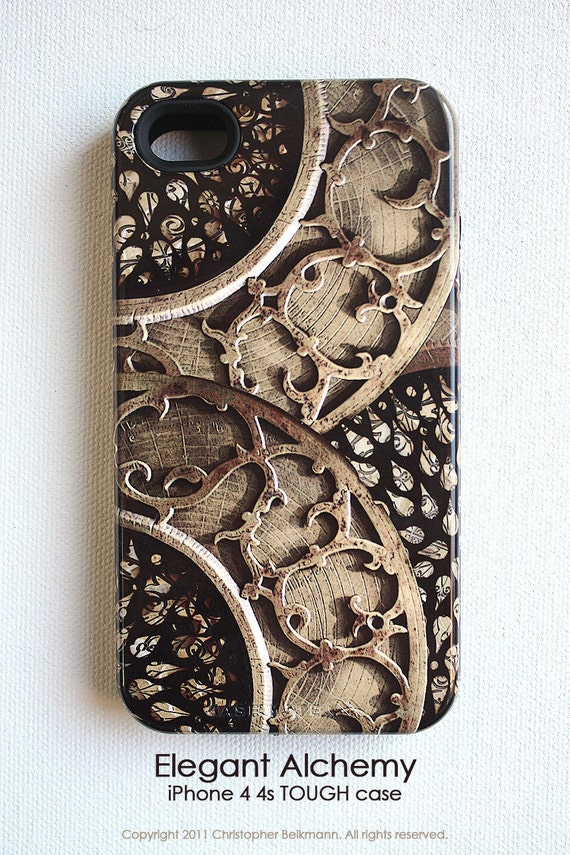 Apple iPhone 4 case / iPhone 4s TOUGH case - Elegant Alchemy - antique gold and black artisan case