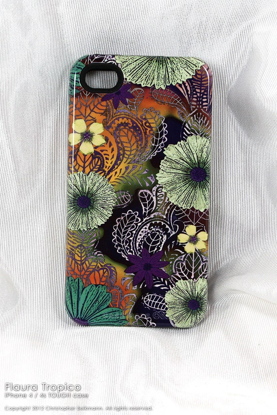 "Apple iPhone 4s case - iphone 4 case - TOUGH hard case with tropical island floral art - Hawaiian style ""Flaura Tropico"""