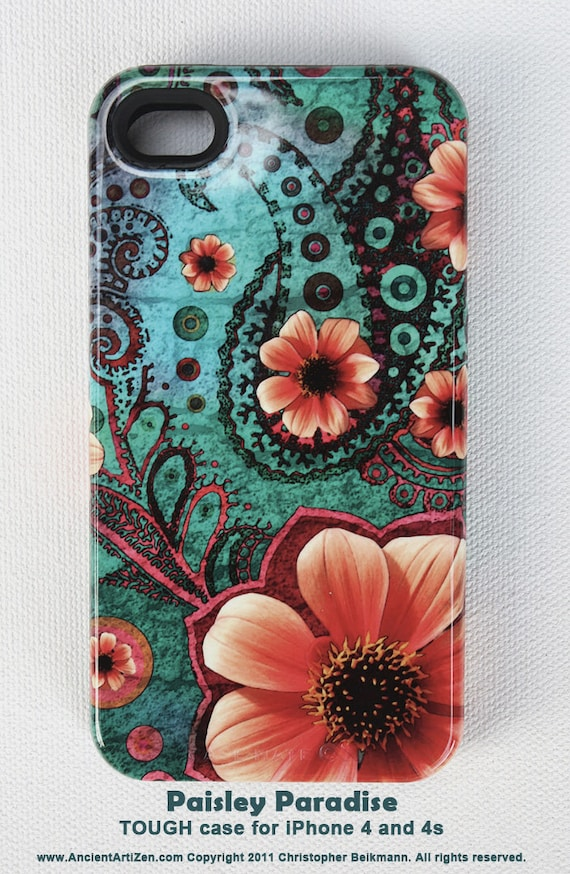 case for iPhone 4 - iPhone 4s case - Paisley Paradise - teal green and orange paisley artwork - TOUGH iphone case