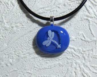 Dragonfly BlueDichroic Fused Glass Pendant