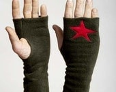 Olive Green Fleece Handwarmers with Applique Red Star