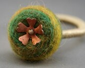 Needle Felted Wool Ponytail holder in Earth Tone With Vintage Copper Flower