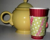 Coffee Cup Sleeve Wrap Flowers and Polka Dots Personalized
