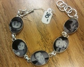 Silver plated 5 link oval photo bracelet with toggle clasp