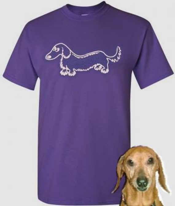 Whimsical Wiener Longhair Dachshund T-Shirt 2 Colors Plum or Black