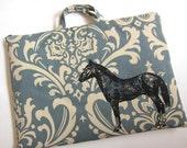 Laptop Bag - Horse on Slate Damask Linen- Custom Sizing Available - Handmade