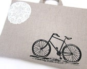 Laptop Bag - Bicyce and a Bit of Lace on Linen- Custom Sizing Available - Handmade
