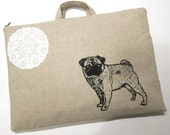 Laptop Bag - Pug and a Bit of Lace on Linen- Custom Sizing Available - Handmade