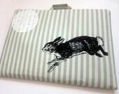 Medium Laptop Bag Bunny and Lace on Seafoam Stripes