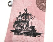 iPhone Case Ship on Pink Lace Print Linen