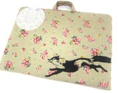 Laptop Case Bag Fox and Lace on Green Floral Linen