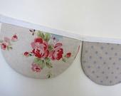Bunting Garland Linen Scalloped Floral Polka Dot Shabby Chic