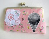 Clutch Purse Hot Air Balloon and Lace on Pink Floral Linen