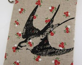 iPhone Case Swallow Bird on Red Floral Print Linen
