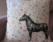 Pillow Cushion Cover Horse and Lace on Floral Linen Shabby Chic