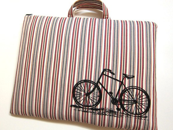 Laptop Bag - Vintage Bicycle on Stripes - Custom Sizing Available - Handmade