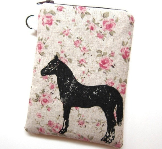 iPhone Pouch - Horse on Floral Linen