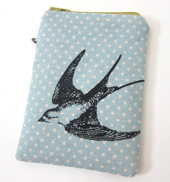 iPhone or Camera Case - Swallow on Blue Polka Dot Linen