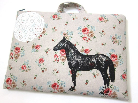 Laptop Bag - Horse and Lace on Beautiful Floral Print Linen- Custom Sizing Available - Handmade