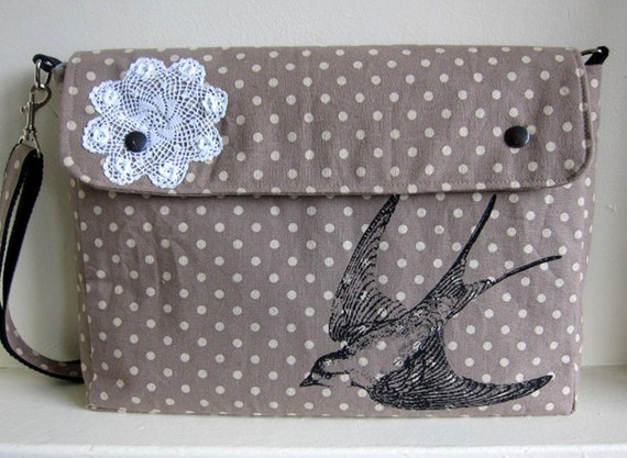 Messenger Bag Bird and Lace on Brown Polka Dot Linen