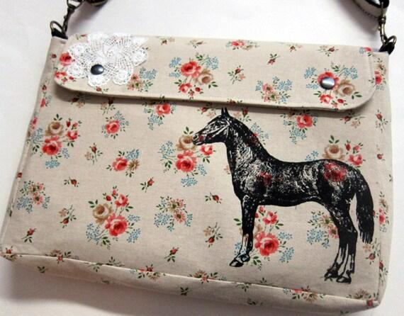Messenger Bag  Diaper Bag Laptop Bag Horse and Lace on Floral Linen