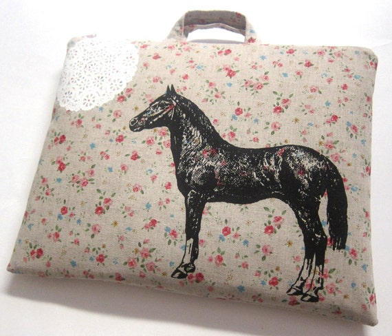 iPad Case Horse and Lace on Floral Linen