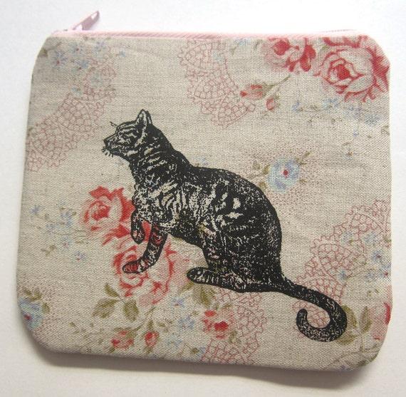 Mini Coin Purse Tabby Cat on Roses Linen