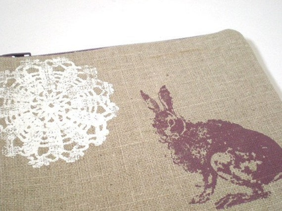 Linen Bunny and Lace Pouch\/Wallet