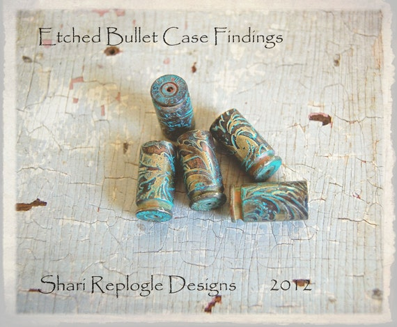 5 Wonderful Etched Bullet Findings for Steam Punk  Assemblage Beading Mixed Media and Altered Art