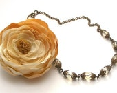 Silk Flower Faceted Czech Glass and Natural Brass Necklace