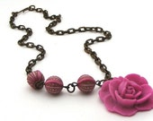 Pink Flower And Brass Vintage Style Asymmetrical Necklace