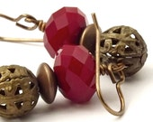 Vintage Patina Filigree and Faceted Glass Earrings Red