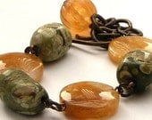 Rhyolite, Honey Jade and Brass Bracelet