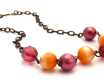 Brass and Vintage Lucite Orange and Raspberry Necklace by BEB Designs