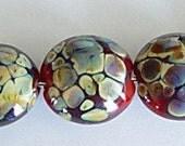 7 Red Raku Lentil Lampwork Beads SRA