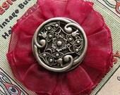 SALE - Button Ponytail Holder - or Brooch or Clip, You Decide - Celtic Garden