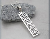 Celtic Knot Necklace Bar Necklace Sterling Silver Irish Jewelry Rectangle Pendant (SN657)