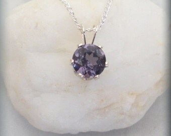 June Birthstone Necklace, Sterling Silver, Alexandrite Pendant, Alexandrite Jewelry, Birthstone Jewelry, Solitaire, June Birthday BP922
