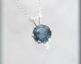 December Birthstone Necklace, Sterling Silver, December Birthday Gift, Blue Zircon Solitaire Pendant, Minimalist, Everyday, Simple (SP928)