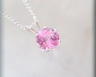 October Birthstone Necklace Jewelry Pink Tourmaline Pendant Sterling Silver (SP926)