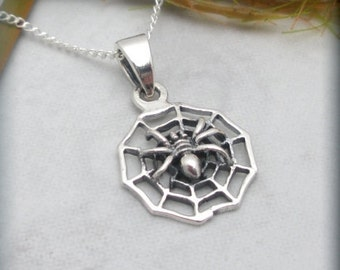 Spider Necklace, Sterling Silver, Spider Pendant, Arachnid Jewelry (SN585)