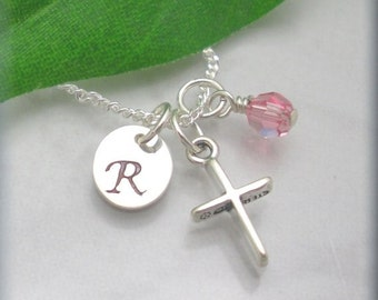 Easter Necklace, Cross Necklace, Birthstone Necklace, Easter Gift, First Communion, Baptism Necklace, Personalized Sterling Silver SN606,607