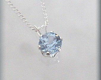 March Birthstone Necklace, Aquamarine Jewelry, Everyday Necklace, Birthstone Pendant, March Birthday Gift, Graduation, Sterling Silver SP919