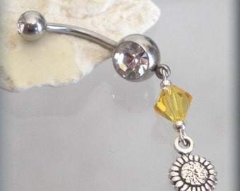 Sunflower Charm Belly Ring Body Jewelry Topaz Swarovski Crystal Navel Piercing (BR155)