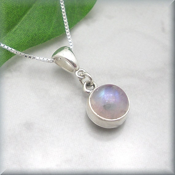 Pink Moonstone Necklace Sterling Silver Gemstone Jewelry (SN643)