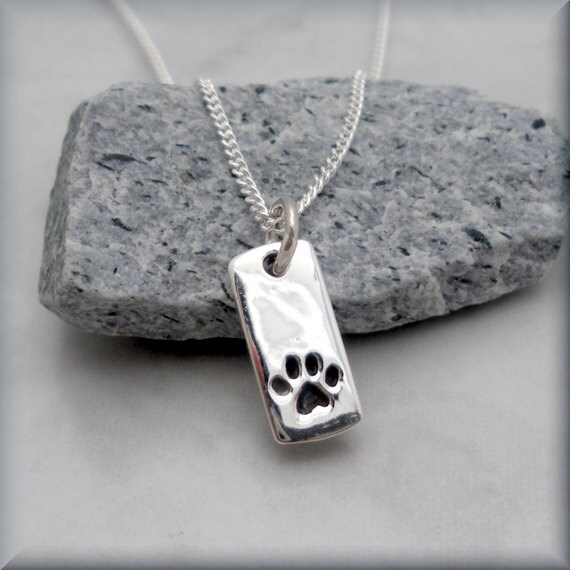 Dog paw necklace pet jewelry sterling silver pet necklace dog paw necklace pet jewelry sterling silver pet necklace charm tag paw print animal pet lover dog lover pawprint sn646 aloadofball Image collections