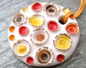 CLEARANCE - Porcelain Pendant with Glass - Fire Craters