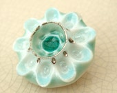 Clearance - Porcelain Brooch with Glass - Aqua and Teal Flower