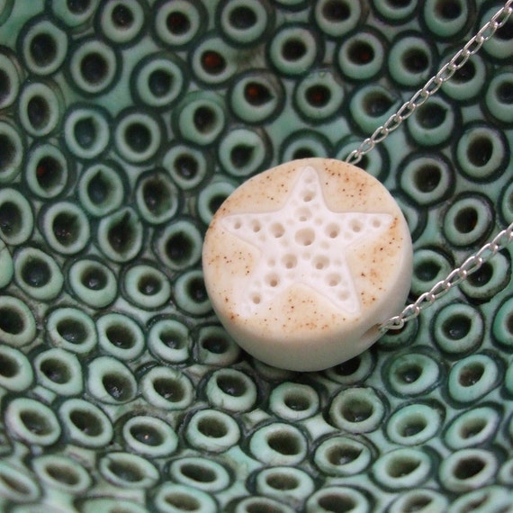 SALE - Porcelain Dot Pendant - Sand and White - Starfish